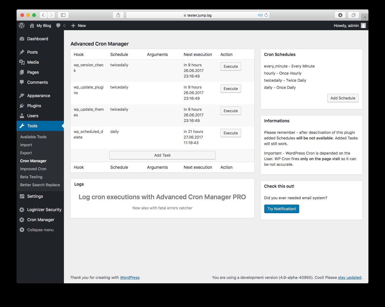 wordpress advanced cron manager